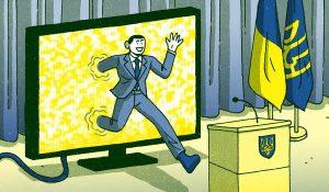 Zelensky saliendo de la TV a Presidente de Ucrania