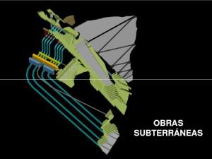 Gráfica de las obras subterraneas en la Represa Pescadero Ituango