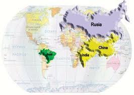 Mapa mundial donde se ubica el grupo BRIC