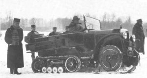 Jeep Todoterreno con oruga de uso militar