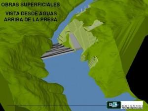 Obras superficiales vista desde aguas arriba de la presa Pescadero Ituango