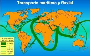 Rutas oceánicas y fluviales con mayores puertos mundiales