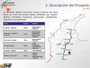 Mapa descriptivo del proyecto del sistema ferroviario central de Colombia