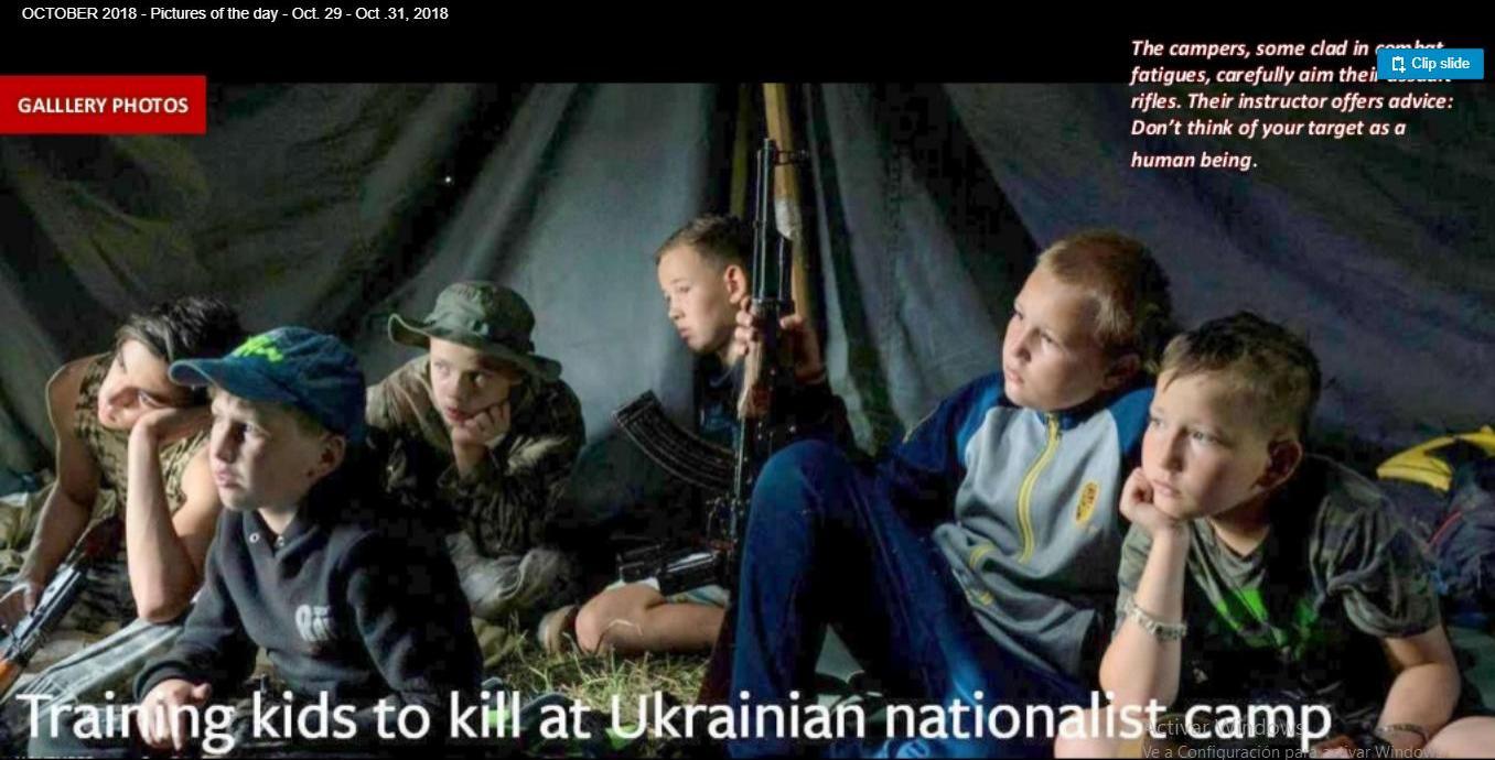 Entrenamiento militar a niños en Ucrania