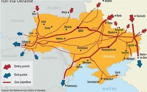 Rutas de gaso ductos en Ucrania