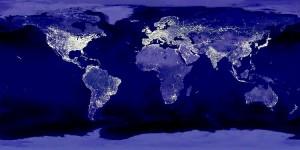 Vista satelital nocturna de la tierra