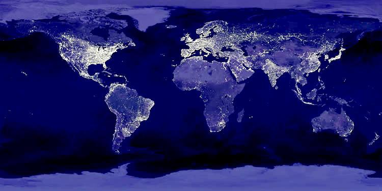 Vista Satelital Nocturna De La Tierra La Otra Opinión